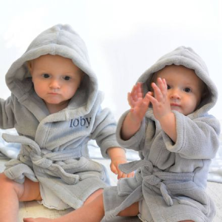 Personalised Twins Soft Baby Dressing Gowns In Grey